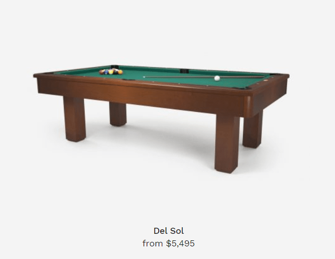 del sol pool table