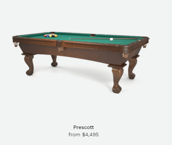 prescott pool table
